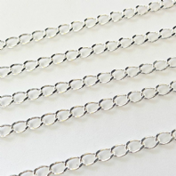 Sterling Silver 3.5X6mm D/Cut Curb Chain Pk of 1ft